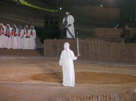 Arab man balancing a sword