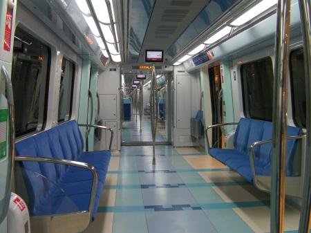 inside of a public transport train