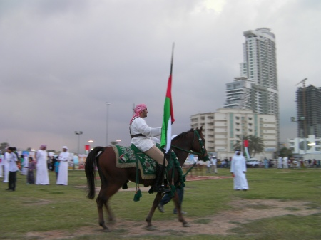 Arab man riding a horse carrying the nation's flag