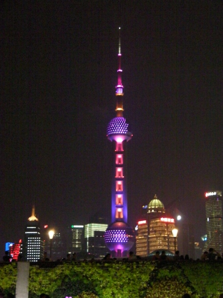 pearl tower lit at night