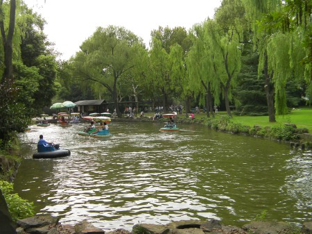 a pond with people in boats like bumper cars