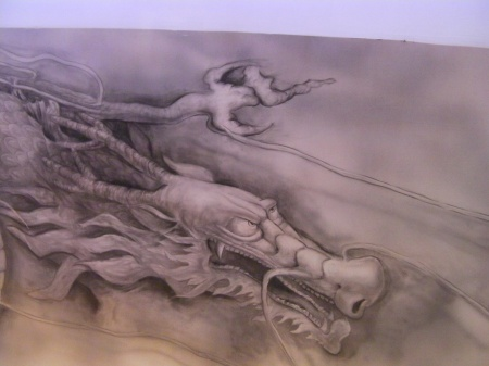 dragon painted on a restaurant ceiling