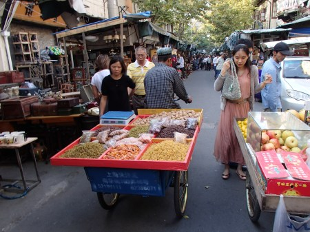 tricycle cart with a variety of dried fruit