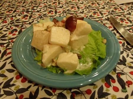 salad made of apples, grapes, walnuts