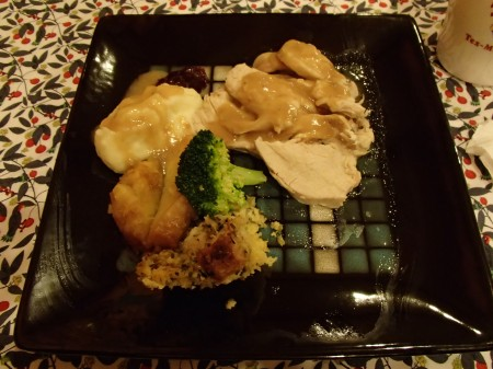 plate of turkey, mash potatoes, stuffing