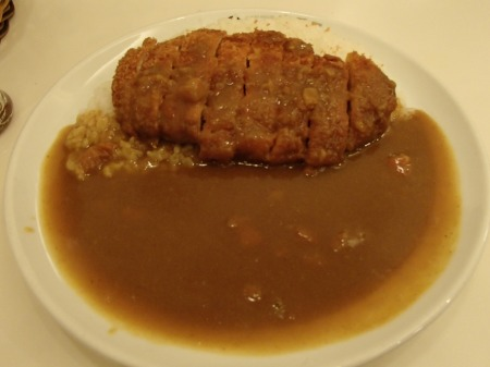 breaded pork cutlet with rice and gravy