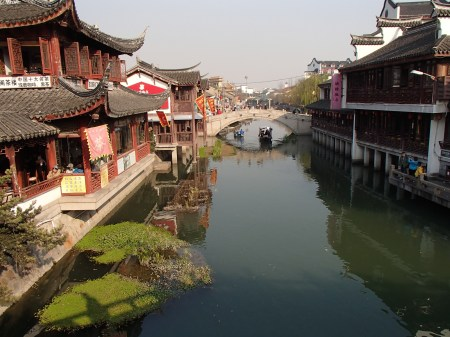 canal between old style Chinese houses