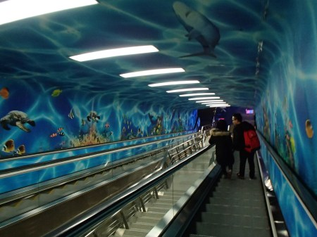 escalator surrounded by ocean theme painting