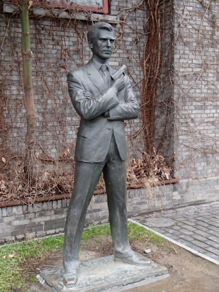 statue of James Bond as portrayed by  Pierce Brosnan