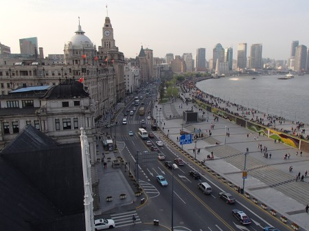 arial view of the Bund from the 7th floor of a building