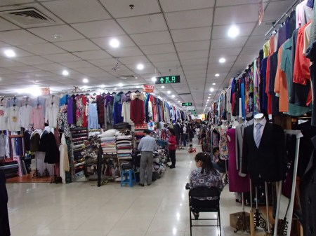 Booths selling tailor made clothes