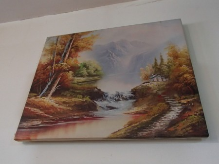 landscape painting of autumn forest and river
