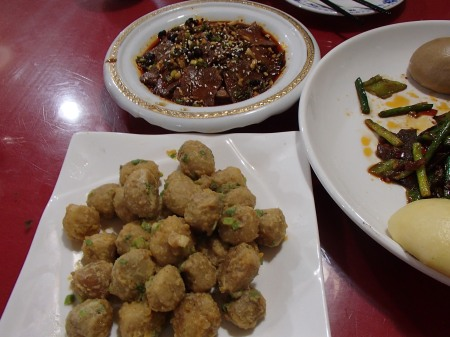 two dishes, one of salted egg taro and the other of beef