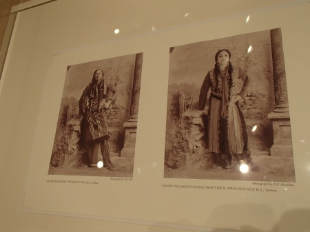 two pictures, an antique picture of a Native American man, a recreation of the photo showing an Indian woman