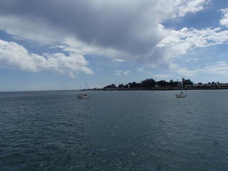 Ocean, sail boats, coast line