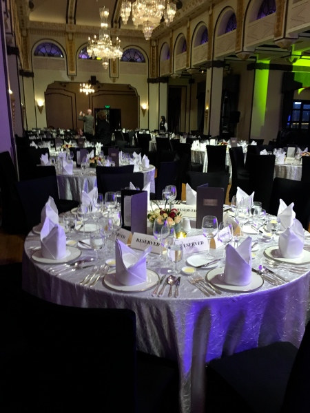 ballroom set with formal dining tables