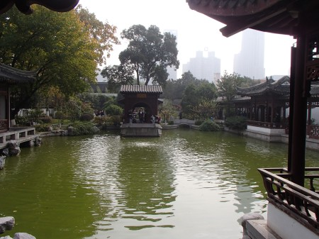 small lake surrounded by Ming dynasty buildings