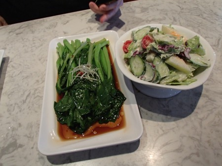 cooked greens and a green salad