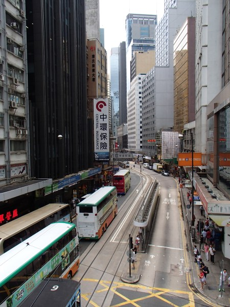 street in Hong Kong surrounded by skyscrapters