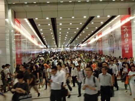 very crowded hallway
