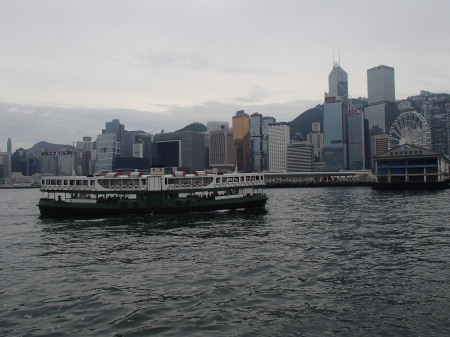 view from a ferry boat in Victoria Harbour