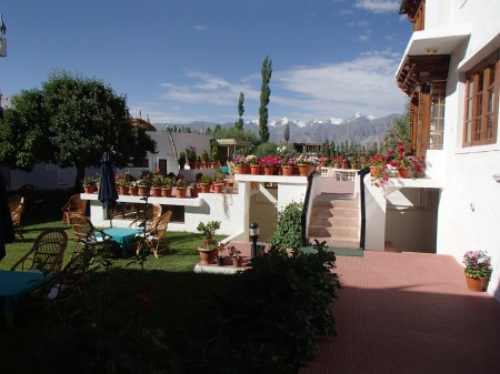 hotel patio with view of the Himalaya mountains