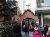 red brick Christian church