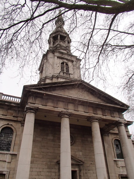 neoclassical church colonnade and spire