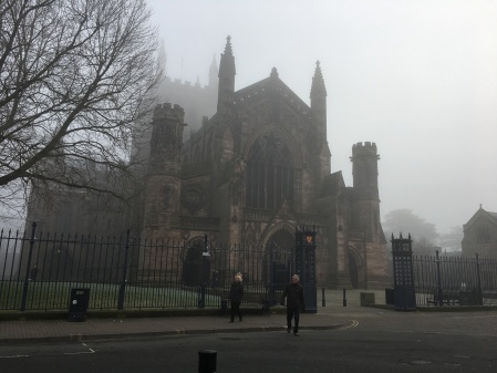 medieval cathedral on a foggy day