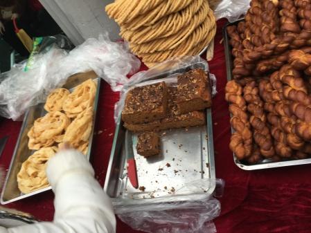 fried noodles, cake, bread twists