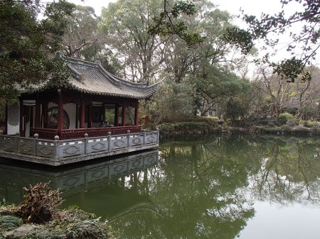 Chinese garden, building structure on the edge of a lake