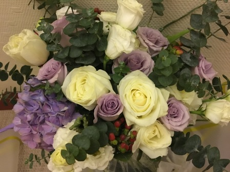 bouquet of white and purple roses