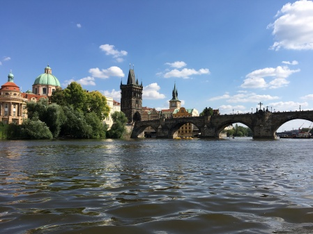 Charles bridge as seen from on the river