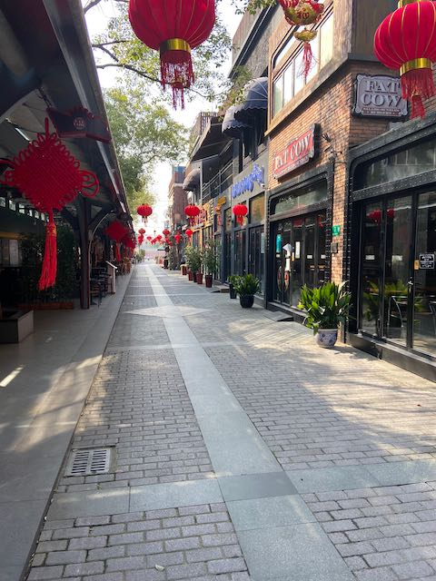 pedestrianized restaurant area with no people in view