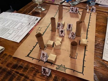 paper map and meeples