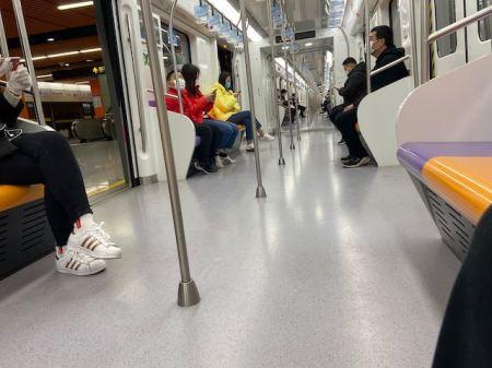 six people on a subway car