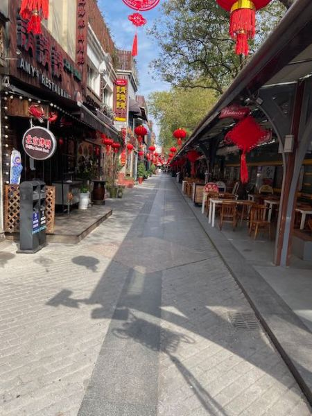 pedestrianized area with restaurants, but no customers in sight