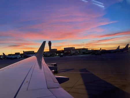 airport scene at sunset