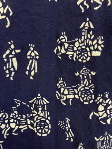 traditional nankeen fabric, blue and white print